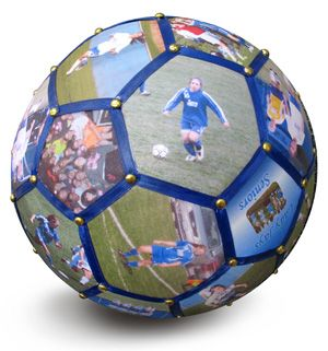Decorate a Soccer Ball as a Personalized Photo Gift for coach, players, or team Mom!!  Let BlanketWorx craft the most SPECIAL, unique photo gift for you! Choose 32 of your favorite, most memorable pictures from your soccer days and  team colors and player names or other text to make it more personalized.  Each panel is highlighted with a color-coordinated ribbon and silver or gold studs.  Because they are handmade, every single one is unique!