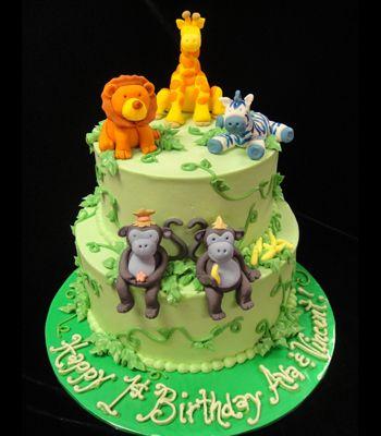 Twins Jungle 1st Birthday Cake
