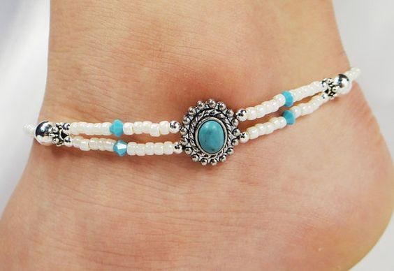Anklet, Ankle Bracelet, 2 Double Strand Blue Turquoise, Turquoise Swarovski Crystals, Beaded, Customizable, Wedding, Beach, Vacation