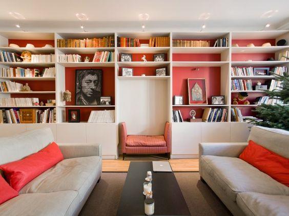 biblioth que sur mesure et clairage encastr salon sous. Black Bedroom Furniture Sets. Home Design Ideas