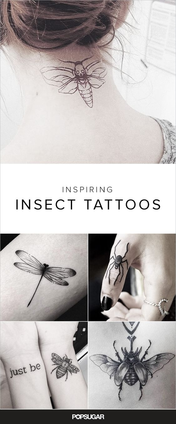 "Typically any insect sighting causes a running fit peppered with screams of horror (""kill it!""). However, these bug tattoos are the opposite of gross. Ants, spiders, beetles, and even moths can be chic when transformed into ink. Don't believe us? Take a look at the inspirational tattoo ideas ahead featuring creepy, crawly creatures. We promise this list goes way beyond the basic butterfly and dragonfly designs you've seen a million times. Multilegged critters just got a much-needed upgrade."