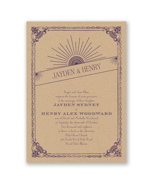 Kraft Sunburst Wedding Invitation by David's Bridal