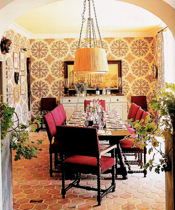 tiledwallpapered walls in a dining room spanish style chandeliers with shades agreeable colonial style dining room furniture