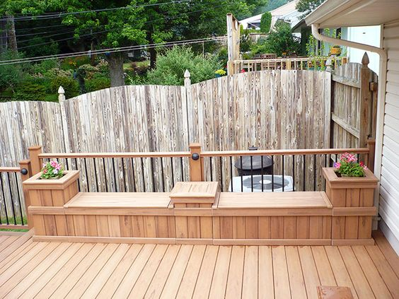Deck storage bench with planters yard pinterest Deck storage ideas