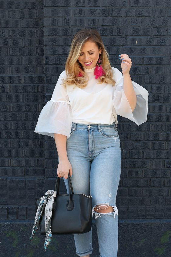Trendy Spring Outfit Hot Pink Statement Earrings A New Day Organza Sleeve Blouse American Eagle Mom Jeans Leopard Platform Sandals Living After Midnite Fashion Style Blogger Jackie Giardina