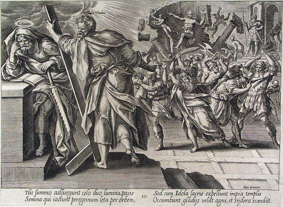 Martyrium des Simon (links) und Judas (rechts daneben) Gravur von Hendrik Goltzius aus seinem Zyklus der Apostel-Martyrien