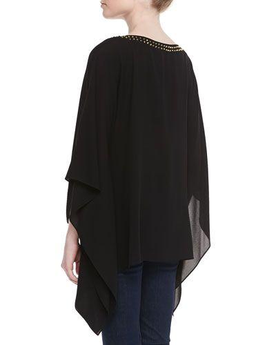 T8XJB Michael Kors Stud-Neck Silk Tunic, Black