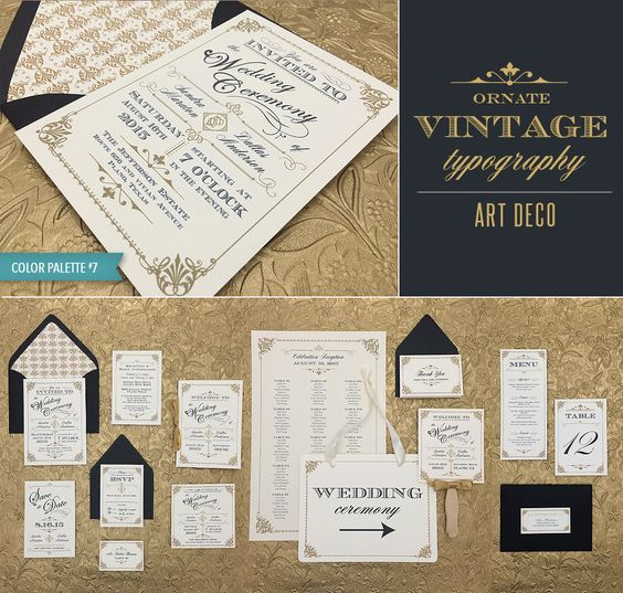 DIY Ornate Vintage wedding invitation collection in black and gold - includes 15 printable pieces. Think Great Gatsby! From #DownloadandPrint