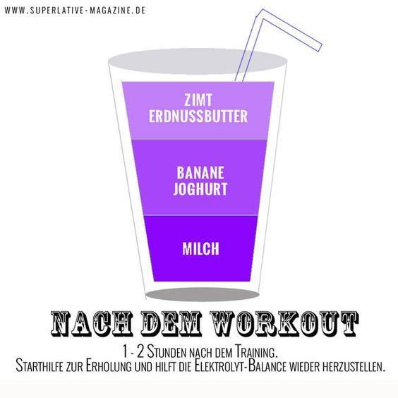 Smoothie für nach dem Workout  Zutaten:  1 Priese Zimt (hilft bei der Muskelregulierung und hält den Blutzuckerspiegel konstant) 1 EL Erdnussmus (oder Mandelmus) 1 mittelgroße Banane (gerne auch gefroren, bringt zusätzlich Cremigkeit!) 1/3 Cup fettarmer Vanille Joghurt 1/2 Cup Mandelmilch (ungesüßt! Gibt's jetzt neu sogar von Provamel!) 1 Cup Eiswürfel  Um den Nährstoffgehalt zu steigern, können Sie noch eine Handvoll  TK Spinat oder Grünkohl hinzufügen.