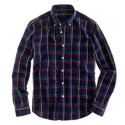 Oxford plaid shirt in royal indigo