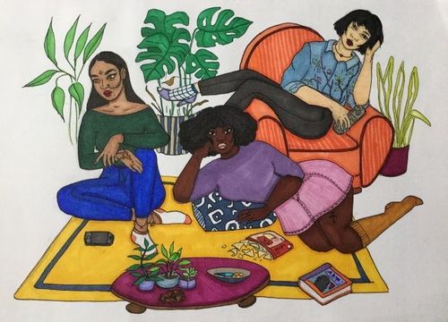 black women and painting image