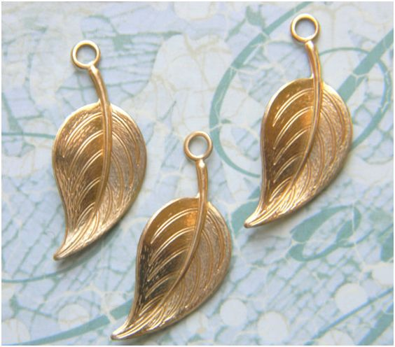 Raw Brass Leaf Leaves Stamping Drop by DecadentBrassGlass on Etsy