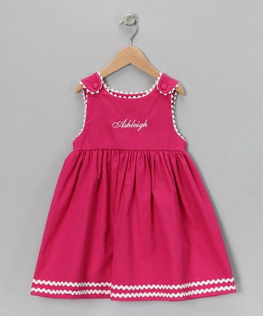 Take a look at this Hot Pink & White Personalized Dress - Infant, Toddler & Girls by Princess Linens on #zulily today!