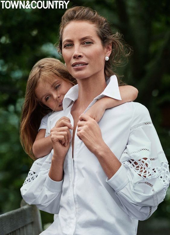 Christy Turlington models alongside daughter Grace for the feature