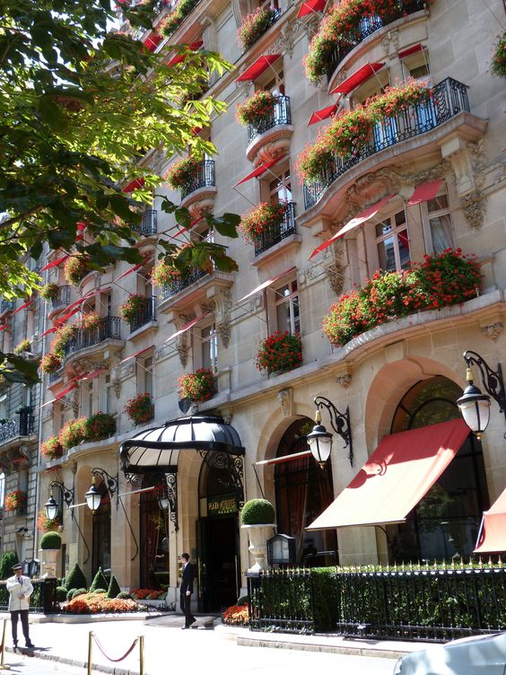 Plaza Athénée hotel, Paris A gorgeous hotel not far from La Tours Eiffel. We loved it.