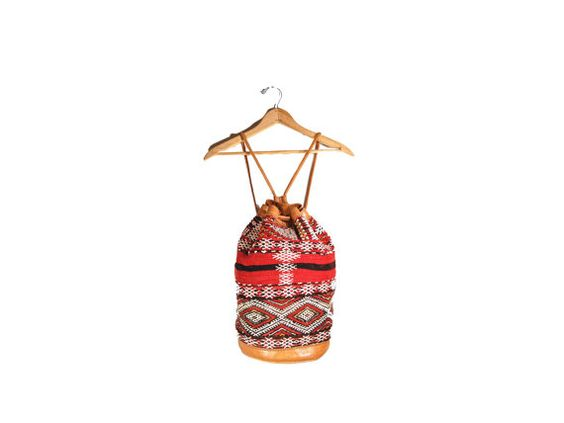 Red & Black Southwestern Rucksack // Woven by IntertwinedVintage