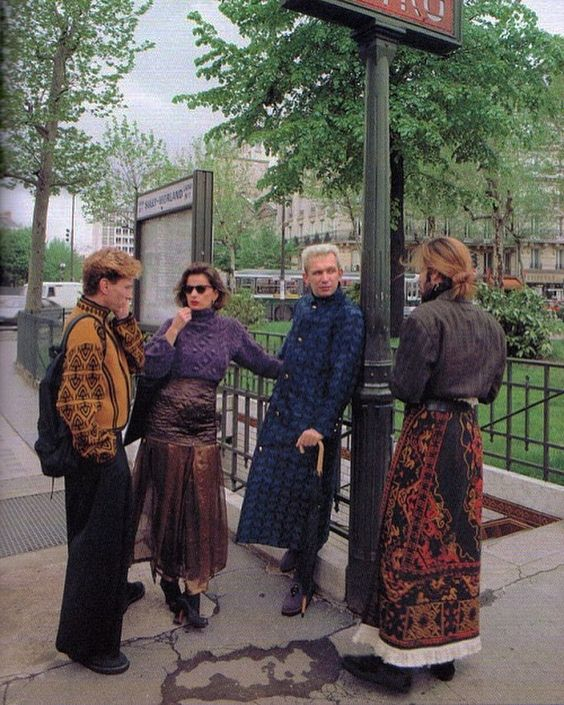 "@oneofa___kind on Instagram: ""Jean-Paul Gaultier poses with friends who are wearing some of his fw 1985 creations."""