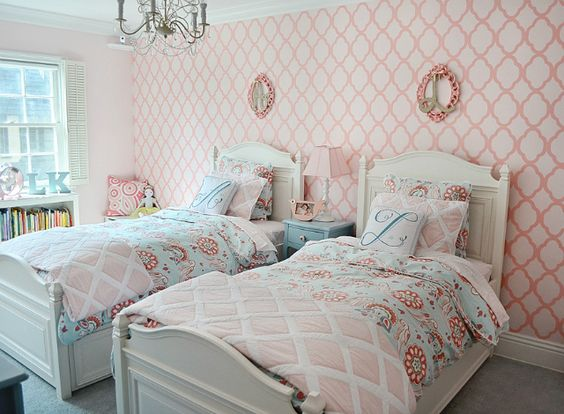 @Serena &  Lily bedding + stenciled accent wall = shared room sweetness! #biggirlroom #sharedroom