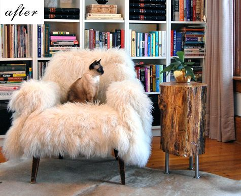 This is actually a tutorial for an end table and jewelry cabinet...but, I just love the bookshelf, the cat and the fluffy chair! What a great space! :)