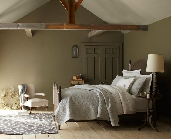 Room colors rustic bedrooms and interior stylist on pinterest for Olive green bedroom designs