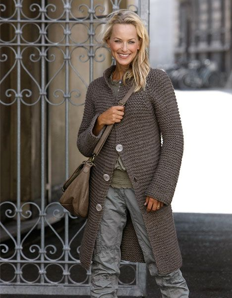 långkofta // garter stitch knit sweater coat // taupe