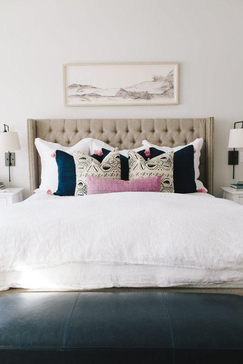 Mapleton New Build Master Bedroom - House of Jade Interiors Blog (tufted headboard, art above bed, sconces)