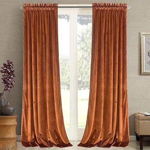 Roslynwood Home Velvet Orange Curtain 108 Inch Heavy Duty