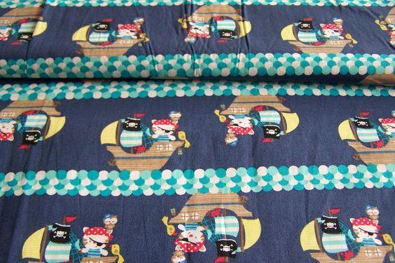 1,45 Ballen Baumwollstoff Kitty Kätzchen Katzen Piratenschiff Eulen Kinderstoff