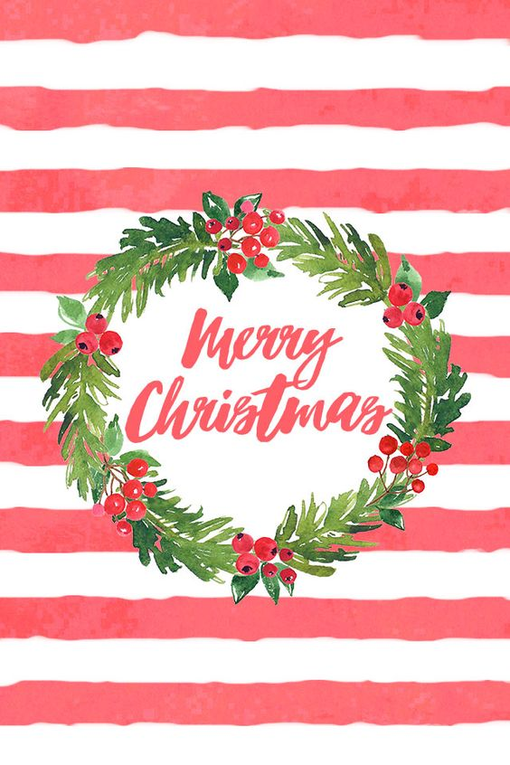 Free stripes and floral Christmas phone background / wallpaper