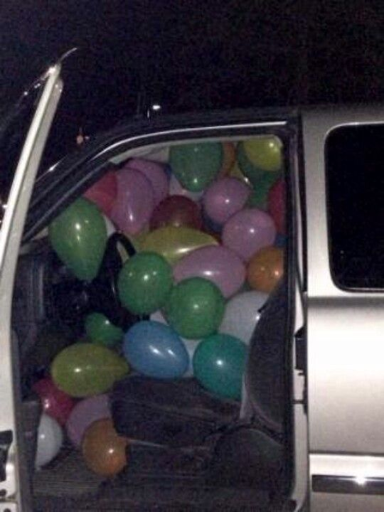 I filled his truck with ballons :)