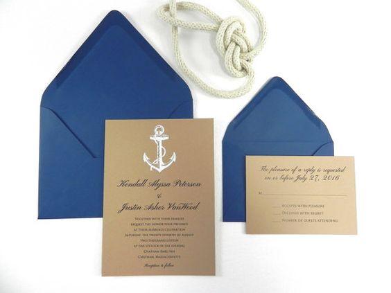 Nautical Anchor Wedding Invitation Set by WhiteGownInvitations, $2.95