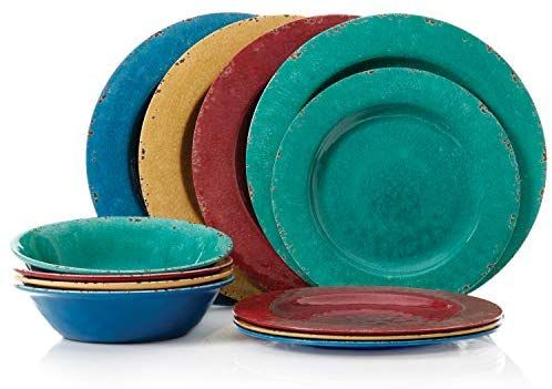 Gibson Mauna 12pc Dinnerware Set 4 Assorted Colors Burgundy Blue Green Yellow Melamine Tableware Plates Dishes