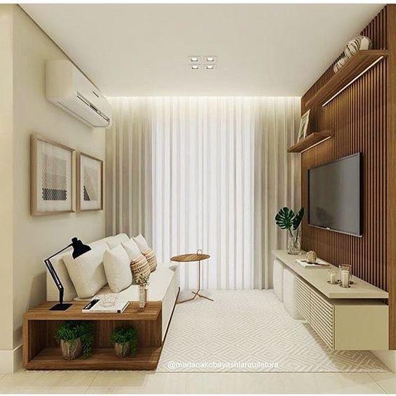 Sala compacta, neutra que nos encantou! Por Mariana Kobsyashi Sigam @shoppdecor