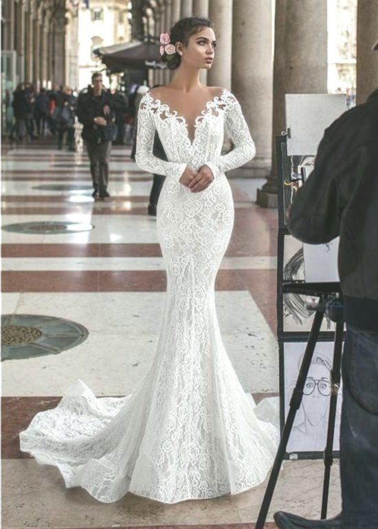 Abiti Da Sposa A Sirena Delicata Con Scollo A Cuore E Strass Maglione Gioiello Con Applicaz Wedding Dress Long Sleeve Off White Wedding Dresses Wedding Dresses