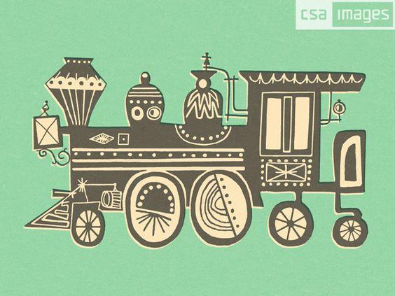 corey loven, retro, 2-color, train