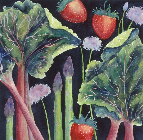 How to make the most of rhubarb season: http://bit.ly/M5si3B #cooking (Art by Jan Roberts-Dominguez)