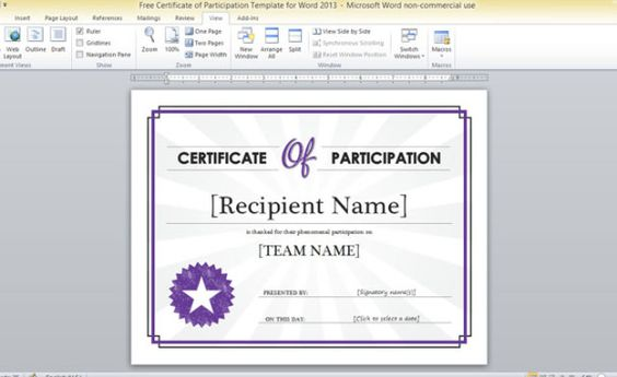 Certificate of Partcipation Template Music Certificate of - free certificate template for word