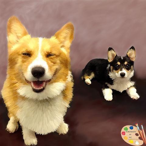 Corgis Group Dog Portraits Dog Portraits Corgi Pet Portrait Painting