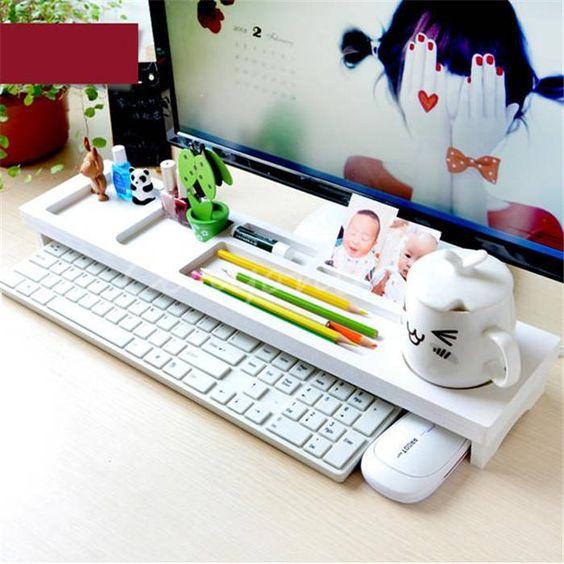 New White Wood Office Room Desktop PC Keyboard Storage Rack Shelf Wood Anti Dust Cover tidy stationery Sundries Pen Holder