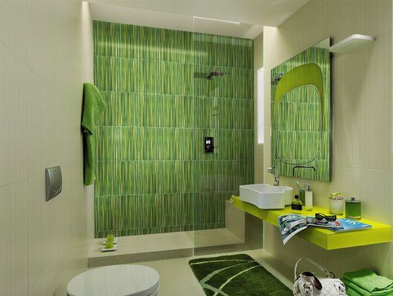 Cerámica color verde en cuarto de baño diseños