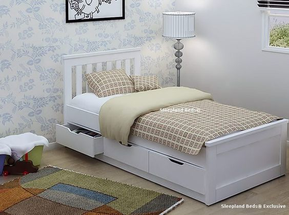 Pure White Single Storage Bed Frame With Three Drawers
