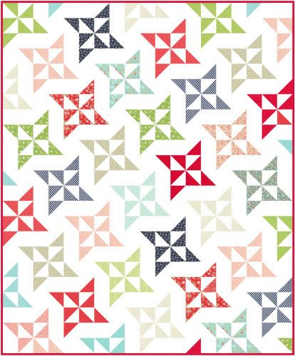 A free layer cake quilt pattern, very simple and quick to make: Arabesque Quilt « Moda Bake Shop