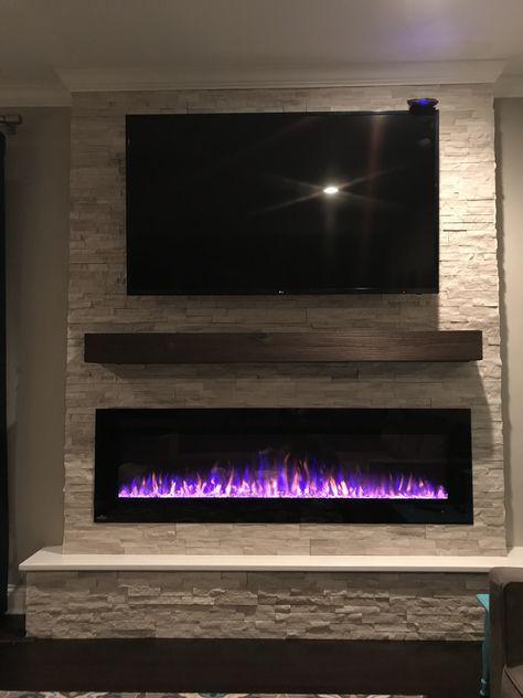 64 Super Ideas For Living Room Tv Wall Fireplace Stacked Stones Fireplace Tv Wall Living Room With Fireplace Basement Fireplace