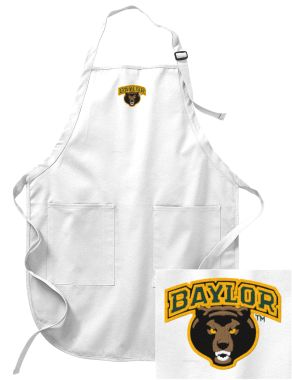 #Baylor embroidered full-length apron with pockets