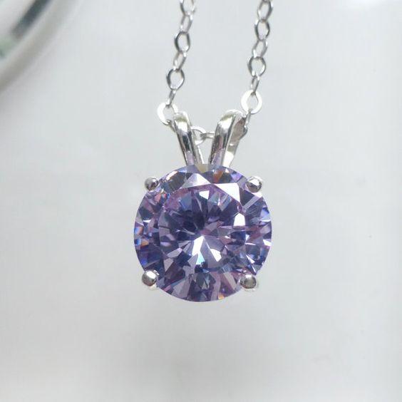 Lavender Cubic Zirconia Necklace Zirconia Pendant by LemonTree7, $17.00