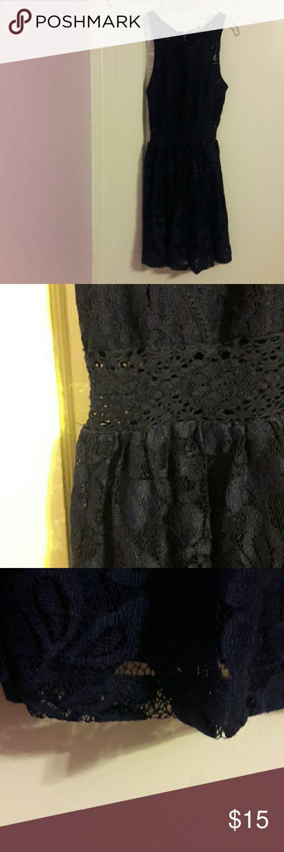 Dark Purple Lace Dress -lace -dark purple -worn twice -zip up back Forever 21 Dresses Mini