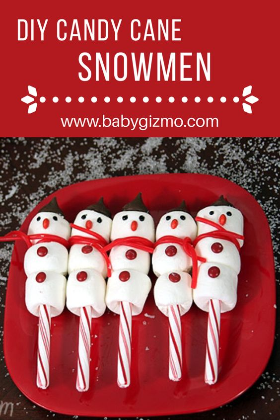 These Candy Cane Marshmallow Snowmen make a great craft AND snack! #diy #christmas #craft: