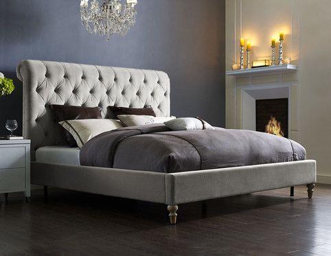 Tov Putnam Grey Velvet Bed In Queen Velvet Bed Frame