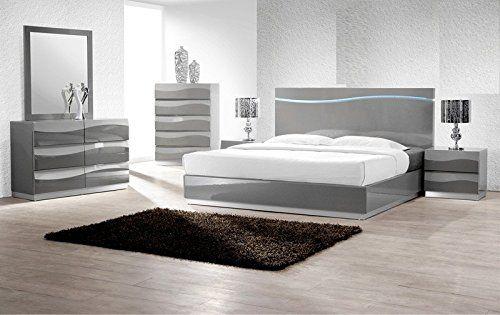Modern Leon 5 Piece Bedroom Set California King Size Bed Dresser 2 X Nightstand Chest Headboard With Led Lig Bedroom Set Designs Bedroom Set Modern Bedroom Set