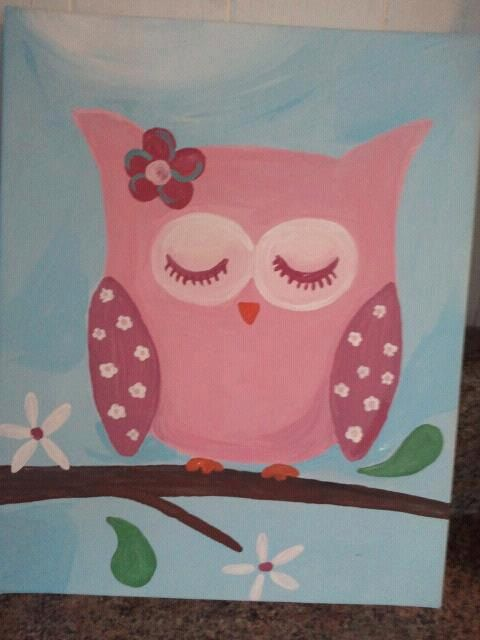 Hand Painted Acrylic Night Owl Painting, ready to hang Canvas: